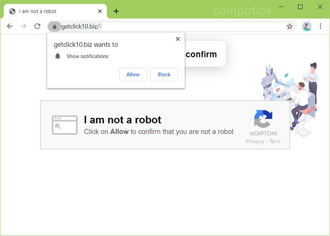 Delete 0.getclick10.biz (get click 10 virus) notifications