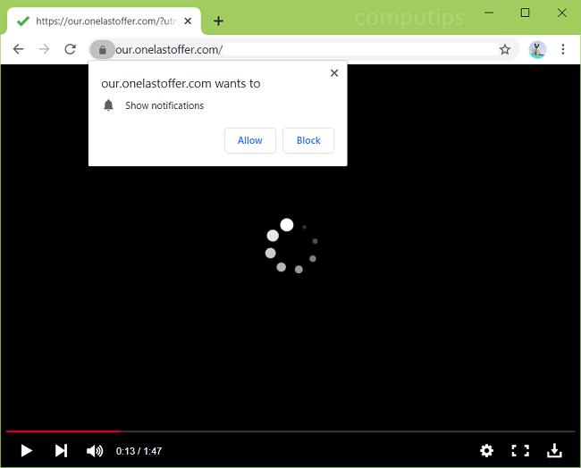 Supprimer our.onelastoffer.com (notre dernier virus d'offre) notifications