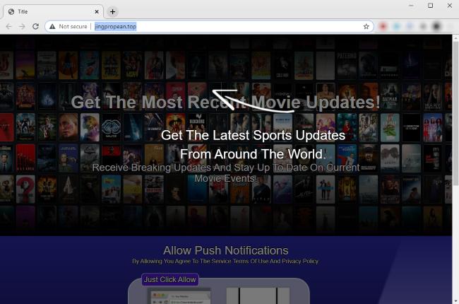 Captura de pantalla del sitio web malicioso Jingpropean.top