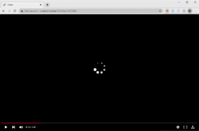 Capture d'écran du site Web malveillant V-news1.online