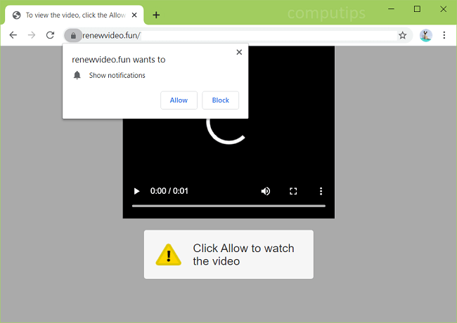 Delete 0.renewvideo.fun (renew video fun virus) notifications
