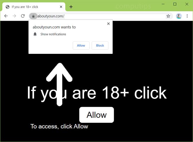 Supprimer 0.aboutyoun.com (à propos de toi n virus) notifications