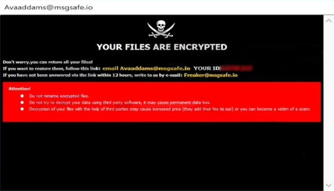 SUS ARCHIVOS ESTÁN ENCRIPTADOS No se preocupe,usted puede recuperar todos sus archivos! Si desea restaurarlos, siga este enlace:envíe un correo electrónico a Avaaddams@msgsafe.io SU ID - Si no ha recibido respuesta a través del enlace dentro de 12 horas, escríbanos por correo electrónico:Freaker@msgsafe.io Atención! No cambie el nombre de los archivos cifrados. No trate de descifrar los datos utilizando el software de terceros, que puede causar la pérdida permanente de datos. El descifrado de los archivos con la ayuda de terceras personas puede causar aumento del precio (agregan su cuota al nuestro) o puede ser víctima de una estafa.