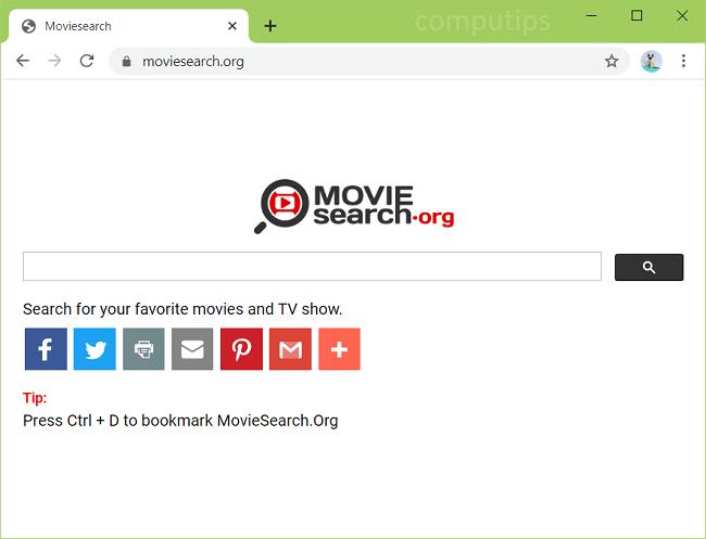 Excluir vírus de busca de filmes (https://www.moviesearch.org/)