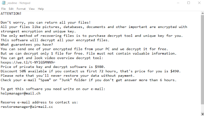 ATTENTION! Don't worry, you can return all your files! All your files like pictures, databases, documents and other important are encrypted with strongest encryption and unique key. The only method of recovering files is to purchase decrypt tool and unique key for you. This software will decrypt all your encrypted files. What guarantees you have? You can send one of your encrypted file from your PC and we decrypt it for free. But we can decrypt only 1 file for free. File must not contain valuable information. You can get and look video overview decrypt tool: https://we.tl/t-EtT4dX8q3X Price of private key and decrypt software is $980. Discount 50% available if you contact us first 72 hours, that's price for you is $490. Please note that you'll never restore your data without payment. Check your e-mail