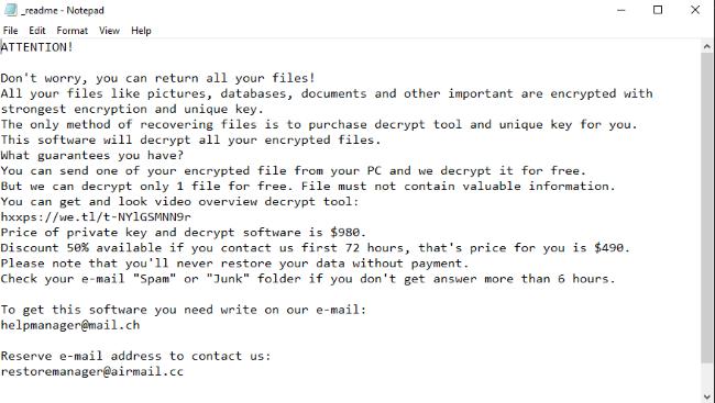 ATENCIÓN! No te preocupes, usted puede recuperar todos sus archivos! Todos sus archivos como imágenes, bases de datos, y otros documentos importantes se cifran con cifrado y la clave única. El único método de recuperación de archivos es la compra de herramienta de descifrado y la clave única para usted. Este software descifrar todos los archivos cifrados. ¿Qué garantía tiene? Se puede enviar uno de sus archivos encriptado de su PC y descifrar de forma gratuita. Pero sólo podemos descifrar 1 archivo de forma gratuita. El archivo no debe contener información valiosa. Es posible obtener y el vídeo de la herramienta de descripción: https://we.tl/t-EtT4dX8q3X El precio de la clave privada y el software de descifrado es $980. Descuento 50% si se comunica con nosotros las primeras 72 horas, ese es el precio para usted es $490. Tenga en cuenta que nunca va a restaurar los datos sin el pago. Consultar su correo electrónico
