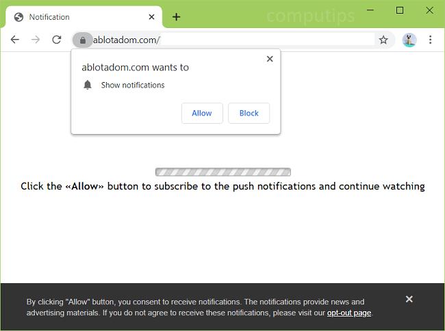 Excluir notificações de vírus ablotadom.com