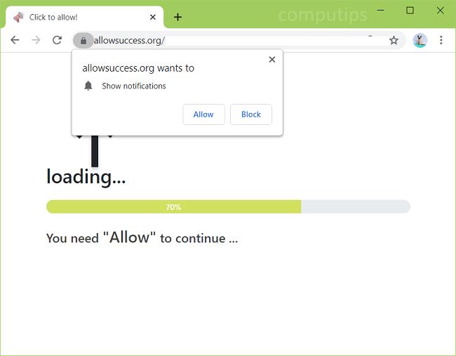 Eliminar 0.allowsuccess.org (permitir el éxito del virus) notificaciones