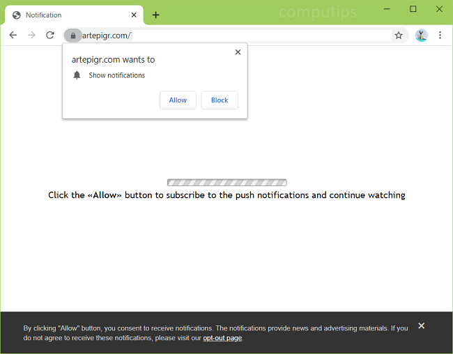 Supprimer les notifications de virus artepigr.com