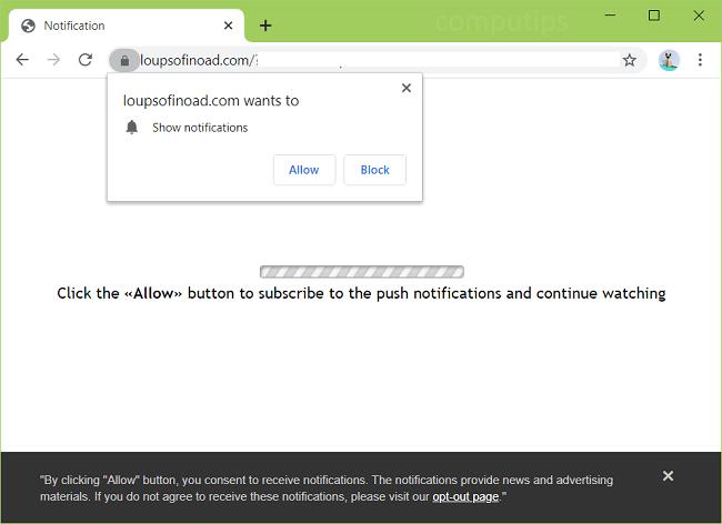 Delete loupsofinoad.com virus notifications