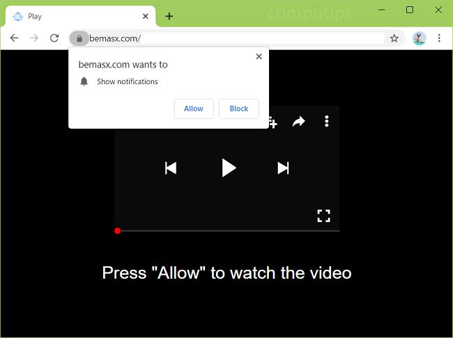 Delete bemasx.com virus notifications