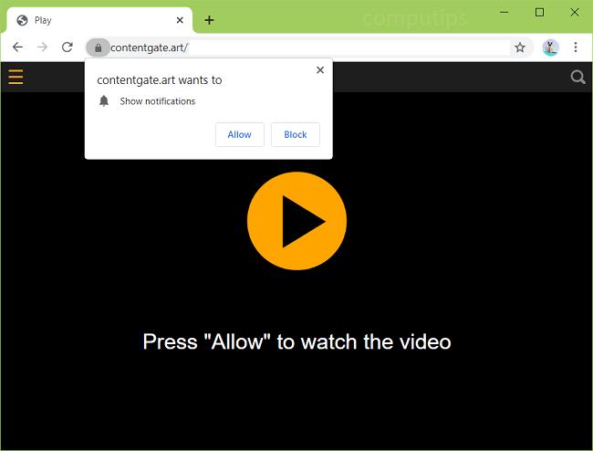 Delete 0.contentgate.art (content gate art virus) notifications