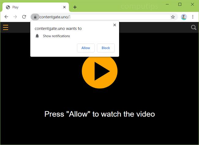 Exclua 0.contentgate.uno (vírus de portal de conteúdo) notificações