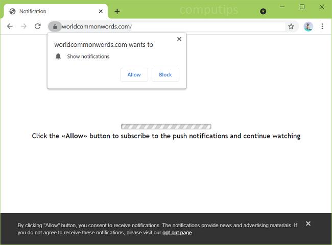 Delete world common words virus notifications