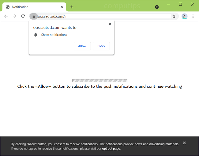 Delete oossautsid.com virus notifications