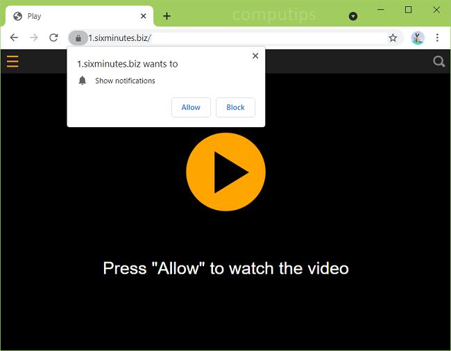 Eliminar 1.sixminutes.biz  (virus de seis minutos) notificaciones