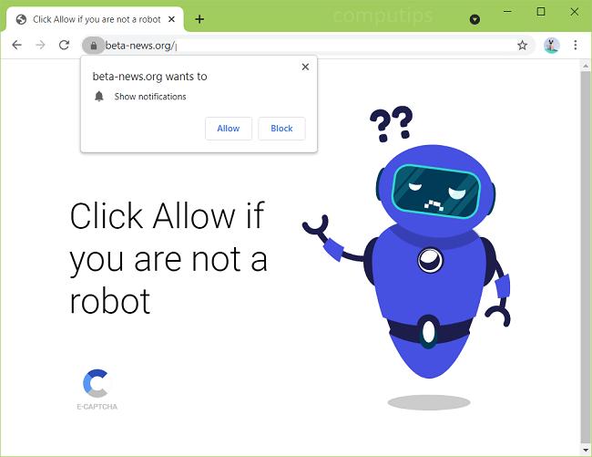 Excluir notificações de vírus beta-news.org