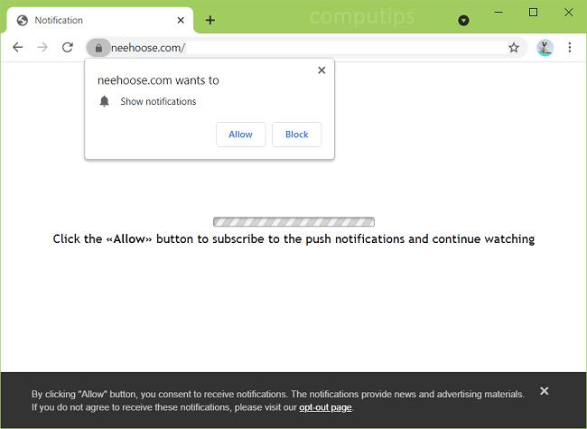 Delete neehoose.com virus notifications