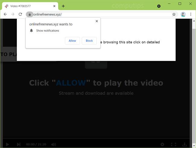 Delete online free news xyz virus notifications