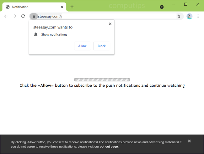 Delete steessay.com virus notifications