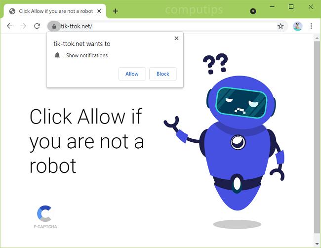 Supprimer les notifications de virus tik-tok.net