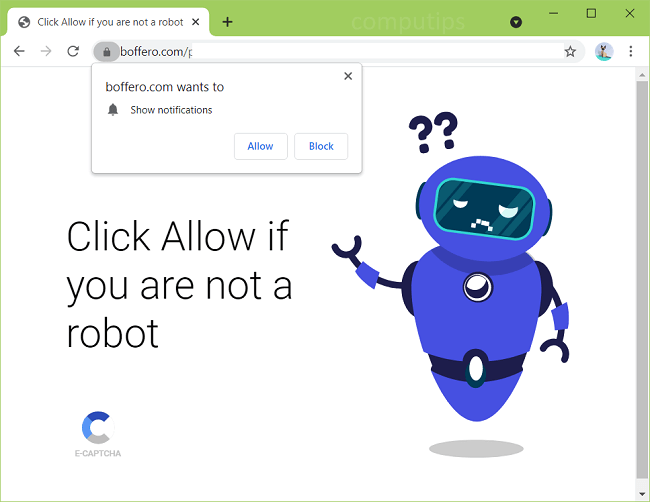 Delete boffero.com virus notifications