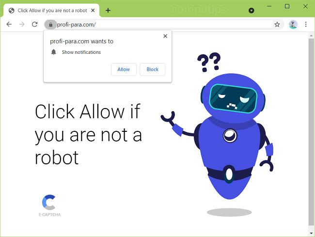 Excluir notificações de vírus profi-para.com