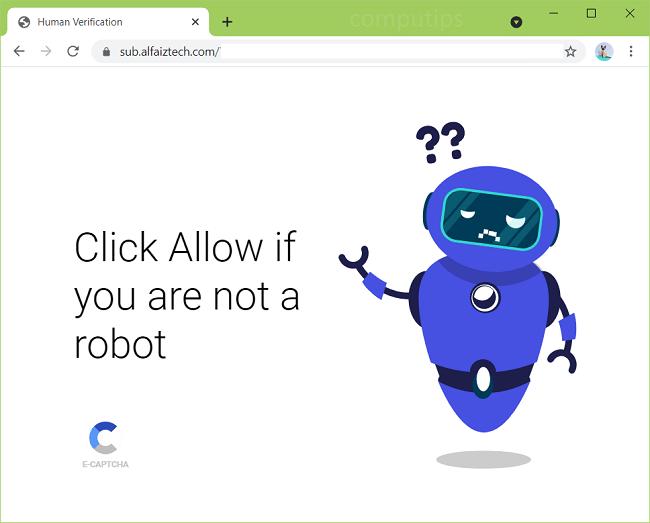 Delete sub.alfaiztech.com, push.alfaiztech.com virus notifications