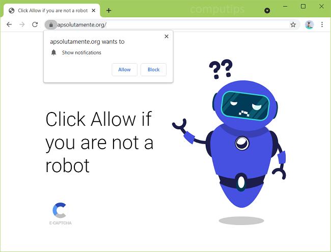 Excluir notificações de vírus absolutamente.org
