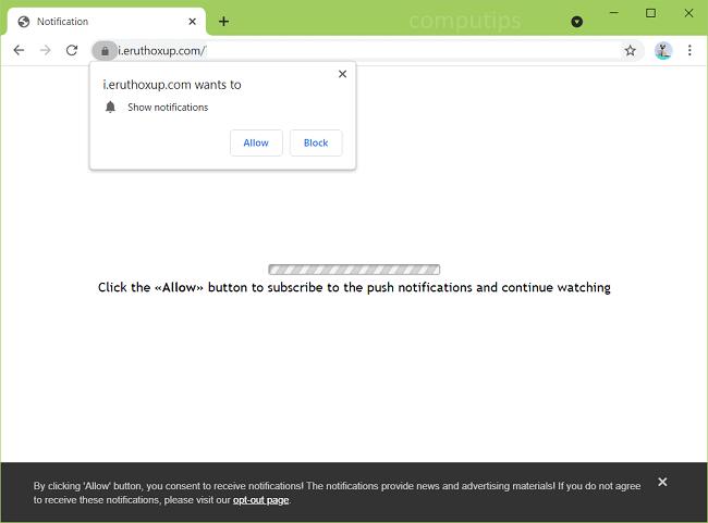 Delete eruthoxup.com virus notifications