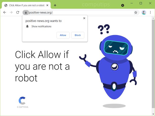 Excluir notificações de vírus positive-news.org