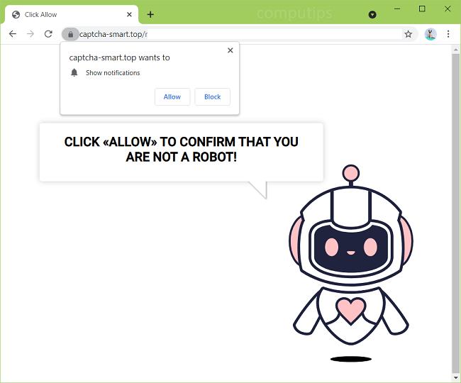 Delete a.captcha-smart.top, b.captcha-smart.top, c.captcha-smart.top virus notifications