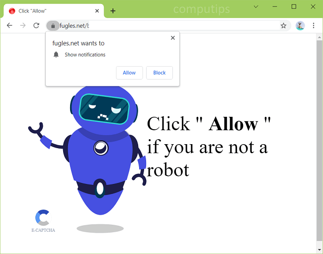 Delete 0.fugles.net, 1.fugles.net virus notifications