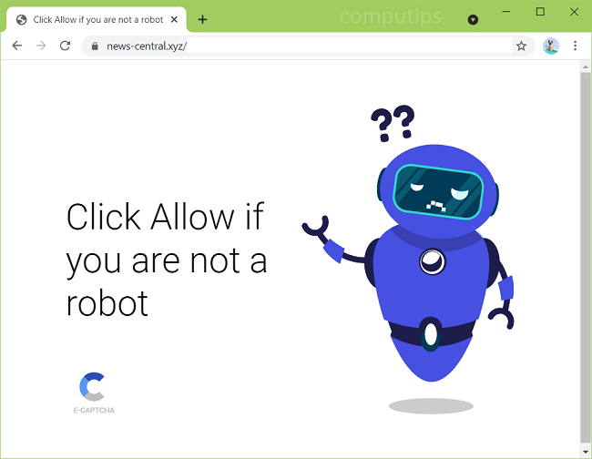 Delete news-central.xyz virus notifications