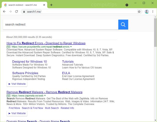 delete Search 1.me virus