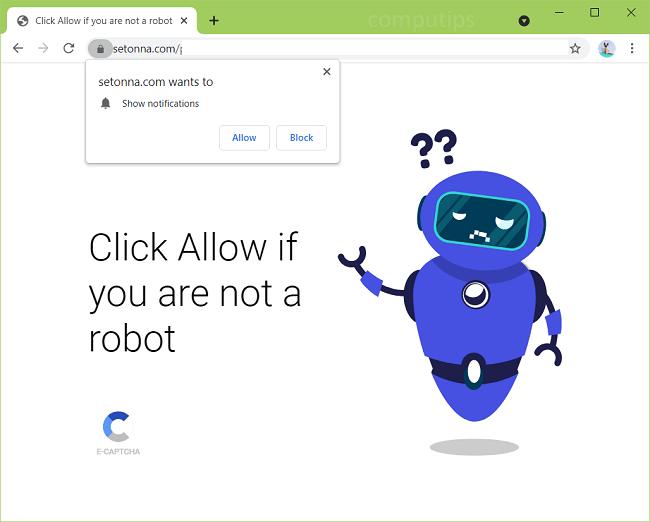 Delete setonna.com virus notifications
