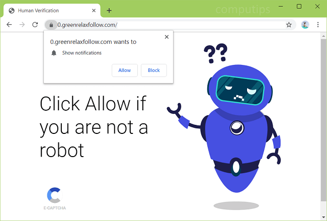 Delete https://greenrelaxfollow.com, 0.greenrelaxfollow.com, etc. virus notifications