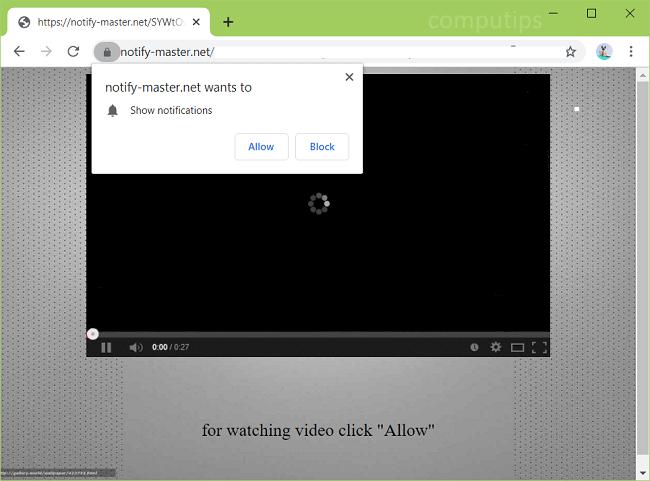 Delete notify-master.net virus notifications