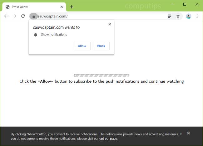 Delete sauwoaptain.com virus notifications