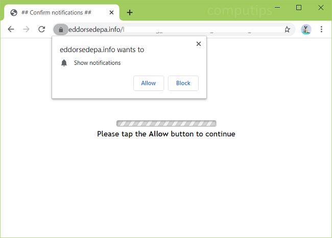 Delete eddorsedepa.info, aj28.eddorsedepa.info, uhy6.eddorsedepa.info, ioux.eddorsedepa.infoo, etc. virus notifications