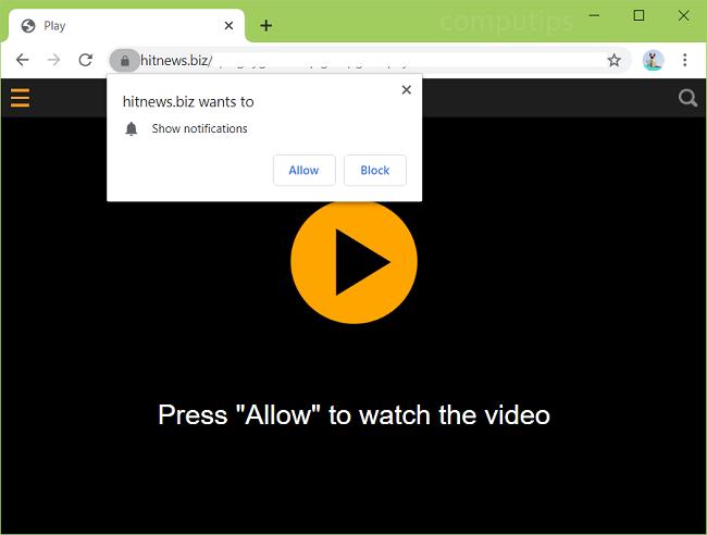 Delete hitnews.biz virus notifications