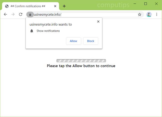 Delete usinesmycete.info, p7.usinesmycete.info, p6.usinesmycete.info, p5.usinesmycete.info, etc. virus notifications